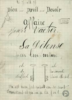 Page de titre de l'Affaire Joseph Vacher. sa défense par lui-même, manuscrit autographe