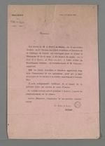Convocation des chefs d'ateliers et ouvriers de la Fabrique de Soierie, par le maire de Lyon, Jean-François Terme, pour participer à l'élection d'un prud'homme titulaire en remplacement de Pierre Charnier, qui a été élu suppléant.
