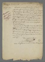 Proposition d'article politique rédigé par Pierre Charnier au sujet de l'entrevue entre le couple ducal d'Aumal et celui de Parme, parent du comte de Chambord, mis en relief avec le discours prononcé par Arquillière, alors président du Conseil des Prud'hommes, le 12 septembre 1844.