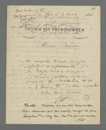 Avis de décès d'un chef d'atelier, suivi de notes de Pierre Charnier sur les conditions d'enterrement de cet anti-religieux.