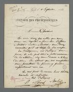 Lettre adressée à Pierre Charnier concernant une enquête du Conseil des Prud'hommes, suivie de la réponse de Charnier et de ses commentaires.