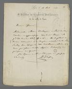 Lettre adressée à Pierre Charnier lui indiquant une surveillance à effectuer en rapport avec la plainte d'une apprentie pour mauvais traitements.
