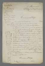 Projet de lettre adressée au préfet du Rhône, rédigée par Pierre Charnier pour un de ses collègues prud'hommes, Courbes, adjoint à la mairie de la Guillotière.
