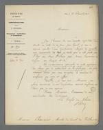 Lettre de Charles-Wangel Bret, préfet du Rhône, adressée à Pierre Charnier dans laquelle il lui propose d'être nommé à la tête d'une commission chargée de surveiller une commande de toile à voile qui a été faite pour l'Etat auprès de Fillier, tisseur.