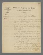 Arrêté de Charles-Wangel Bret, préfet du Rhône, concernant la mission de surveillance de la commande d'Etat de toile à voile passée auprès de Fillier, tisseur.
