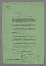 Convocation des chefs d'ateliers et ouvriers de la Fabrique de Soierie, par le maire de Lyon, représenté par Clément Reyre, premier adjoint, pour participer à l'élection d'un prud'homme suppléant en remplacement de Pierre Charnier, titulaire sortant. Lyon (Rhône), 18 janvier 1844