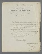 Réponse de Pierre Charnier qui accepte l'offre de Charles-Wangel Bret, préfet du Rhône, pour la mission de surveillance de la commande d'Etat de toile à voile passée auprès de Fillier, tisseur.