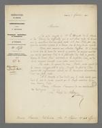 Lettre de Charles-Wangel Bret, préfet du Rhône, adressée à Pierre Charnier dans laquelle il lui annonce le départ de Lyon de Merlin, contremaître de la Marine en charge de la commande d'Etat de toile à voile passée auprès de Filier, tisseur.