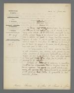 Lettre de Charles-Wangel Bret, préfet du Rhône, adressée à Pierre Charnier dans laquelle il lui annonce que le ministère a décidé de donner un acompte de deux mille francs sur demande du tisseur Filier que Pierre Charnier est chargé de surveiller, décision prise malgré les réticences de ce dernier.