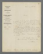 Lettre du conseiller d'Etat adressée à Pierre Charnier dans laquelle il lui rappelle l'importance de sa mission de surveillance de la commande d'Etat de toile à voile, passée auprès de Fillier, tisseur.