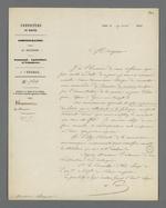 Lettre du conseiller d'Etat, adressée à Pierre Charnier, dans laquelle il lui propose d'être nommé membre d'une commission chargée de surveiller une commande de hamacs de marine qui a été faite pour l'Etat.
