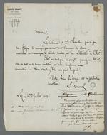 Requête de Louis Grand, avocat, auprès de Pierre Charnier concernant l'expertise de machines à dévider, suivie de la réponse de Pierre Charnier.