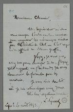 Lettre de Louis Grand, avocat, adressée à Pierre Charnier concernant sa nomination par le greffe du tribunal civil pour l'expertise de machines à dévider.