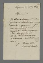 Lettre de Pierre Charnier annonçant la fin de sa mission d'expert, ayant remis son rapport au président du tibunal civil, dans l'affaire des machines à dévider.