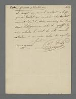 Lettre de la veuve Daudet adressée à Pierre Charnier dans laquelle elle le prie de venir la voir afin qu'elle lui communique une nouvelle information dans l'affaire qui l'oppose à son associé.