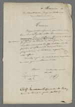 Lettre de Pierre Charnier adressée au juge du tribunal de commerce dans laquelle il lui demande de se rendre à son domicile accompagné des autres arbitres des parties, dans l'affaire qui oppose deux associés.