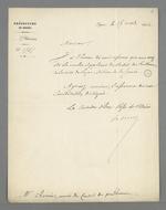 Lettre du préfet du Rhône, Hippolyte Paul Jayr, adressée à Pierre Charnier, dans laquelle il l'informe de son élection comme membre suppléant du Conseil des Prud'hommes, section de la Fabrique de Soierie.