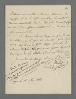 Lettre de la veuve Daudet adressée à Pierre Charnier dans laquelle elle lui donne rendez-vous chez une de ces relations qui est en lien avec l'affaire qui l'oppose à son associé Gonnet.