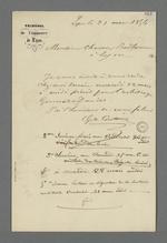 Lettre du juge du tribunal de commerce adressée à Pierre Charnier, dans laquelle il l'invite à se rendre chez lui pour arbitrer l'affaire qui oppose deux associés.