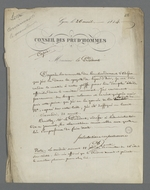 """Lettre de Pierre Charnier, adressée à Félix Bertrand, président du Conseil des Prud'hommes, dans laquelle il se plaint de n'avoir pu trouver au greffe qu'un numéro vieux de quatre jours de la publication <a href=""""http://sbibbh.si.bm-lyon.fr/cgi-bin/bestn?id=&amp;act=8&amp;form=F&amp;auto=0&amp;nov=1&amp;v0=0&amp;t0=seq(0000085772)&amp;i0=0&amp;s0=5&amp;v1=0&amp;v2=0&amp;v3=0&amp;sy=&amp;ey=&amp;scr=1&amp;x=0&amp;y=0""""><cite>Le Moniteur Universel</cite></a>"""