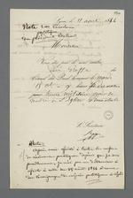 Convocation de Pierre Charnier au greffe du Conseil des Prud'hommes, suivie de notes de ce dernier au sujet de Félix Bertrand, président du Conseil.