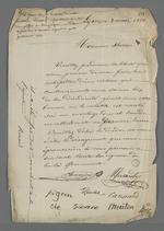Lettre adressée à Herron, secrétaire du Conseil des Prud'hommes, signée de Pierre Charnier, d'un autre membre du Conseil, et d'un bestiaire farfelu.