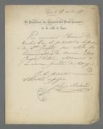 Lettre de Félix Bertrand, président du Conseil des Prud'hommes, adressée à Pierre Charnier dans laquelle il le prie de se rendre auprès du détenu Joseph Louis pour entendre ses déclarations relatives à un nouveau procédé de tissage.