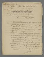 Lettre de Pierre Charnier adressée à l'un de ses collègues prud'hommes, Morel, dans laquelle il l'informe d'une affaire opposant un marchand-fabricant à un chef d'atelier sur la question des frais de montage de métiers.