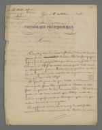 Lettre de Pierre Charnier adressée à Ville, chef d'atelier au sujet d'une dette contractée par un des compagnons, Berdor, auprès de son ancien chef d'atelier.