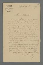 Lettre de Fauché, huissier audiencier, adressée à Pierre Charnier, expert, désigné par le tribunal civil pour effectuer un rapport sur l'affaire du procès en contrefaçon intenté par Jean Galy.
