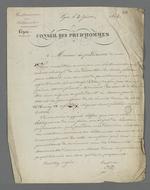 Lettre de Pierre Charnier, adressée à Arquillière, président du Conseil des Prud'hommes, dans laquelle il lui demande d'intercéder auprès du maire de Lyon pour que les maîtres ouvriers en bâtiment puissent se réunir dans une salle de l'Hôtel de Ville, pour lire et signer leur pétition en faveur de la création d'un Conseil des Prud'hommes de leur corporation.
