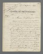 Lettre de Pierre Charnier, adressée à Buffard, propriétaire, dans laquelle il effectue un compte-rendu de la réunion des maîtres ouvriers en bâtiment pendant laquelle a été lue et signée une pétition en faveur de la création d'un Conseil des Prud'hommes de leur corporation.