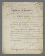 Lettre de Pierre Charnier adressée à Vautrin et Michel Durand, maîtres menuisiers, dans laquelle il leur propose de se rendre au Conseil des Prud'hommes section soierie, dont il est lui même membre suppléant, et d'y rencontrer le Président du Conseil afin de lui remettre la pétition en faveur de la création d' un Conseil des Prud'hommes en bâtiment.