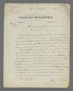 Lettre de Pierre Charnier adressée au président du Conseil des Prud'hommes au sujet de la présentation au préfet de la pétition en faveur de la création d'un Conseil des Prud'hommes en bâtiment.