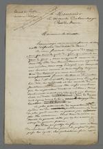 Lettre adressée au vicomte Dubouchage, pair de France, par Pierre Charnier dans laquelle il se fait porte-parole de la demande de création d'un Conseil des Prud'hommes en bâtiment.