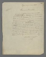 Lettre de Pierre Charnier adressée à Michel Durand, menuisier, au sujet des corrections apportées au texte de la demande pour la création d'un Conseil des Prud'hommes en bâtiment.