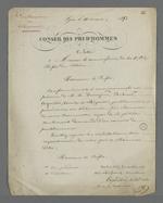 Lettre de Pierre Charnier adressée au préfet de La Coste, dans laquelle il donne la liste des prud'hommes provisoires en bâtiment et présente la demande de création d'un Conseil des Prud'hommes en bâtiment.