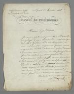 Lettre de Pierre Charnier adressée au président du Conseil des Prud'hommes à propos d'une affaire opposant un ouvrier en mécanique à ses deux chefs d'ateliers.