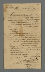 Lettre de Pierre Charnier adressée à Berthau, prud'homme, concernant une altercation ayant eu lieu la veille au sujet de la question de prescription mensuelle.