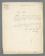 Lettre d'Hippolyte Jayr, préfet du Rhône, adressée à Pierre Charnier, dans laquelle il l'informe de son élection comme membre titulaire du Conseil des Prud'hommes, section de la Fabrique de Soierie.