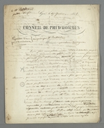 Lettre de Pierre Charnier à Bertrand, conseiller prud'homme, au sujet d'une querelle sur les positions adoptées lors d'un Conseil des Prud'hommes.