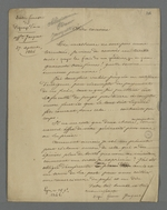 Lettre de Mme Jacquet, rédigée par Pierre Charnier, adressée à sa cousine, dans laquelle elle lui demande de lui prêter de l'argent afin de payer les frais de procédure relative à une affaire de piquage d'once.