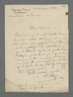 Lettre de l'avocat Lançon, adressée à Pierre Charnier, dans laquelle il le consulte au sujet d'une procédure lancée contre l'épouse d'un détenu, condamné pour piquage d'once.