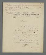 Convocation de Pierre Charnier par le Conseil des Prud'hommes pour effectuer une expertise.