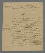 Lettre adressée à l'empereur dans laquelle il lui est demandé d'autoriser un recours en grâce pour Antoinette Finaud, veuve Desvignes, condamnée à six mois de prison pour piquage d'once;
