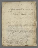 Lettre de l'agent comptable de la Caisse de prêt aux chefs d'ateliers, adressée à Pierre Charnier, dans laquelle il lui communique les noms, adresses, montants des emprunts et des remboursements des chefs d'ateliers débiteurs.