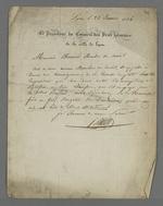 Lettre du président du Conseil des Prud'hommes adressée à Pierre Charnier dans laquelle il ordonne de faire pression sur Janisson pour qu'il s'acquitte de l'indemnité qu'il est condamné à verser à Buffard.
