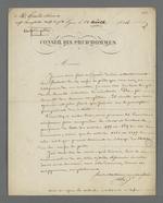 Lettre de Pierre Charnier adressée à Grand-Clément, agent comptable de la Caisse de prêt aux chefs d'ateliers, au sujet de la prescription quinquénale des intérêts.