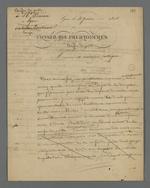 Lettre de Pierre Charnier adressée à Baron, au sujet du songe qu'il a eu suite à une dispute avec Balleidier, président de la Caisse de prêt, au sujet de la prescription mensuelle des prêts.