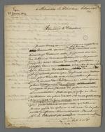 Lettre de Pierre Charnier adressée à Therriat, directeur du Palais du Commerce et des Arts, au sujet de l'accès à un tableau de Titien que possède ce dernier.
